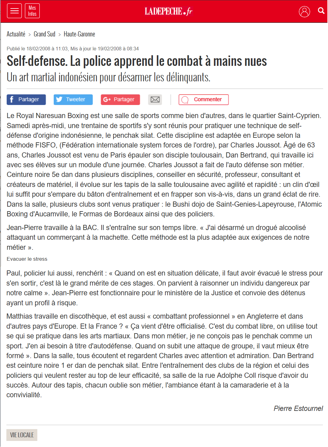 Article Self-Défense La Dépêche du Midi