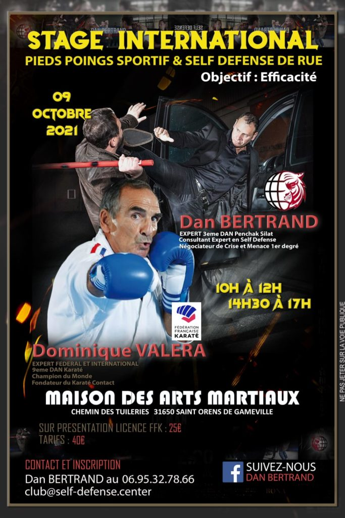 Stage International Pieds-Poings Self-Defense Dominique Valera et Dan Bertrand à Toulouse
